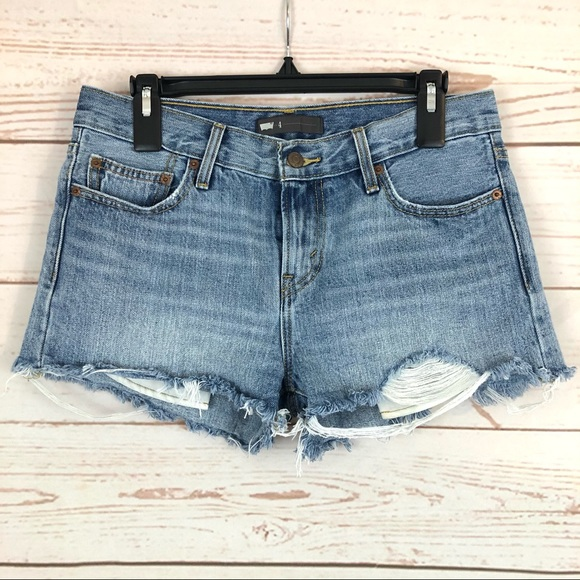 Levi's Distressed High Rise Cutoff Jeans Shorts